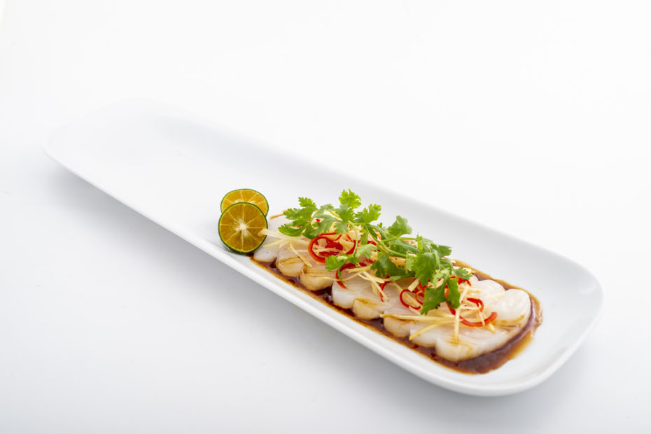 Raw Nordic Halibut slices with soya and lime