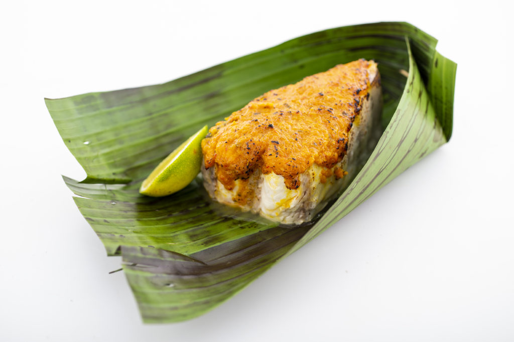 Oven-baked Nordic Halibut on a banana leaf