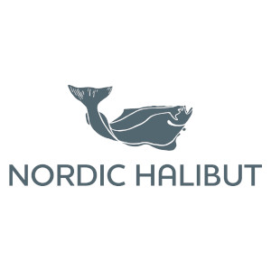 Nordic Halibut logo with a dark grey halibut swimming to the right and text: Nordic Halibut