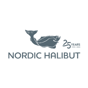 Nordic Halibut logo: a dark grey halibut and text saying Nordic Halibut, 25 years 1995-2020