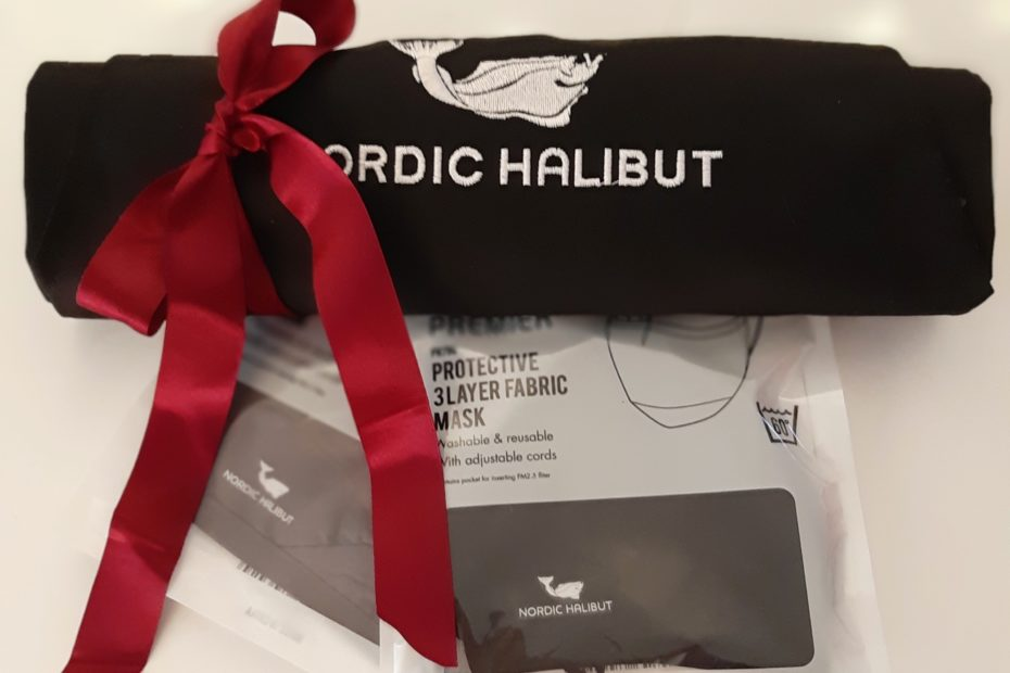Nordic Halibut apron and 2 face masks